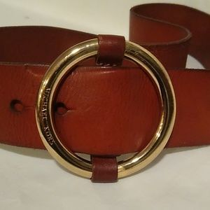 Michael Kors brown leather buckle belt M